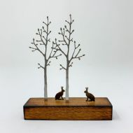 David Mayne 'Miniature Silver Birch with Hares' Steel Sculpture